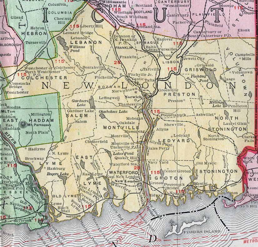 map of groton connecticut New London County Connecticut 1911 Map Rand Mcnally Waterford map of groton connecticut