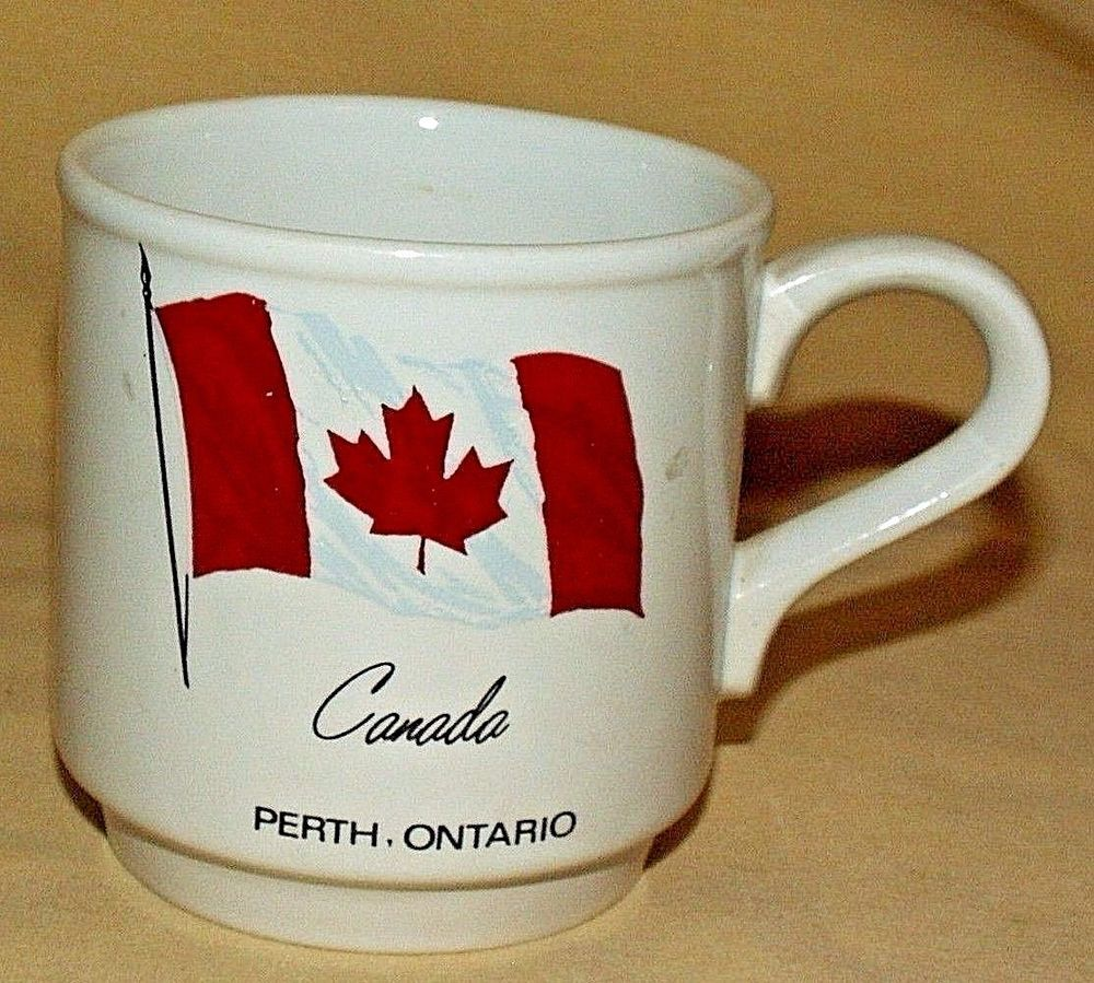 Canada mug perth ontario flag maple leaf coffee tea cup