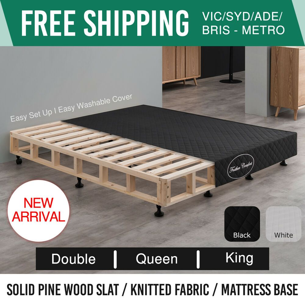 Mattress Bed Base Queen Double King Fabric Wooden Kd Slat Frame