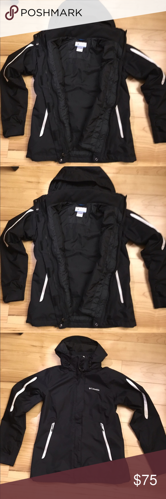 Colombia detachable Jacket Black Colombia detachable jacket. Nicely taken care of. No stains, rips or tears. Columbia Jackets & Coats