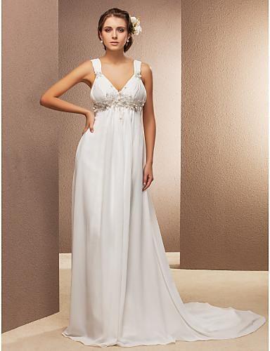 Sheath/Column V-neck Court Train Chiffon Wedding Dress