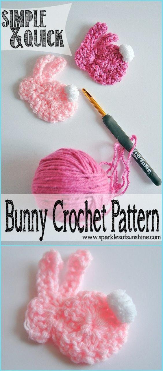 Crochet simple y rápido apliques de conejito Patrón libre de ...