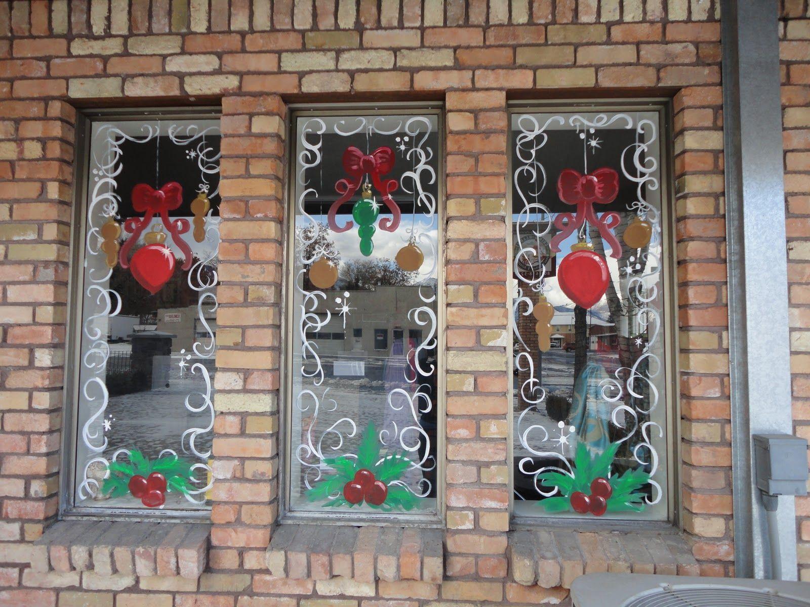 Christmas window decor  christmas window painting  artistic murals window painting