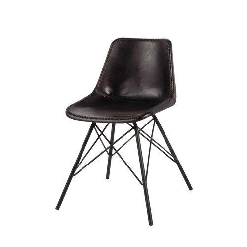 Cheap Stuhl Im Aus Leder Und Metall Schwarz With Stuhl Metall