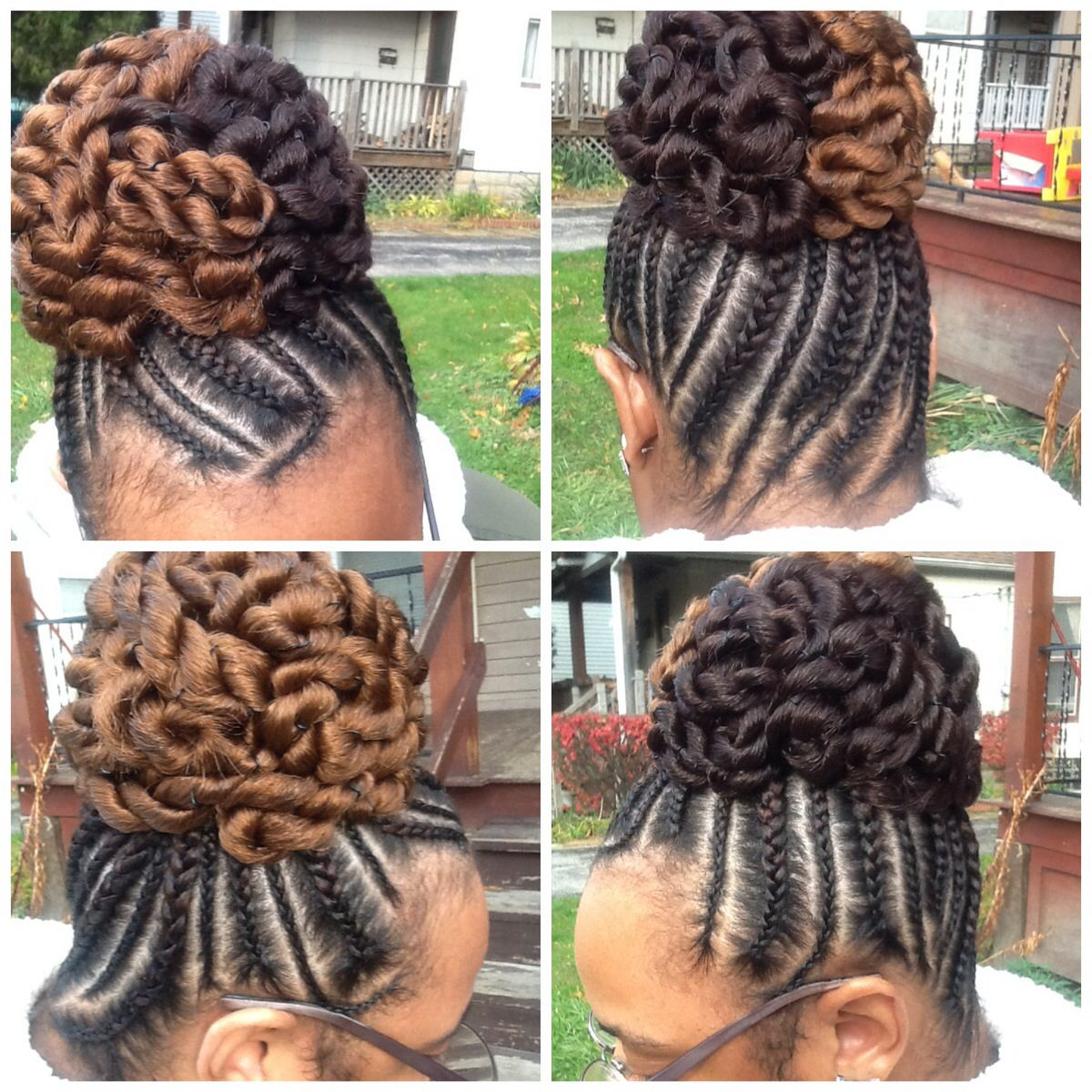 big little braids with a two tone twisted bun | african