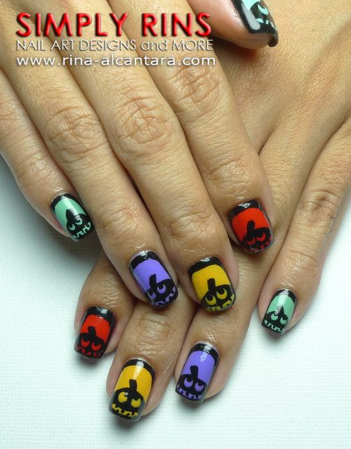 Silhouette Pumpkins Nail Art Design Nails With Flair Pinterest