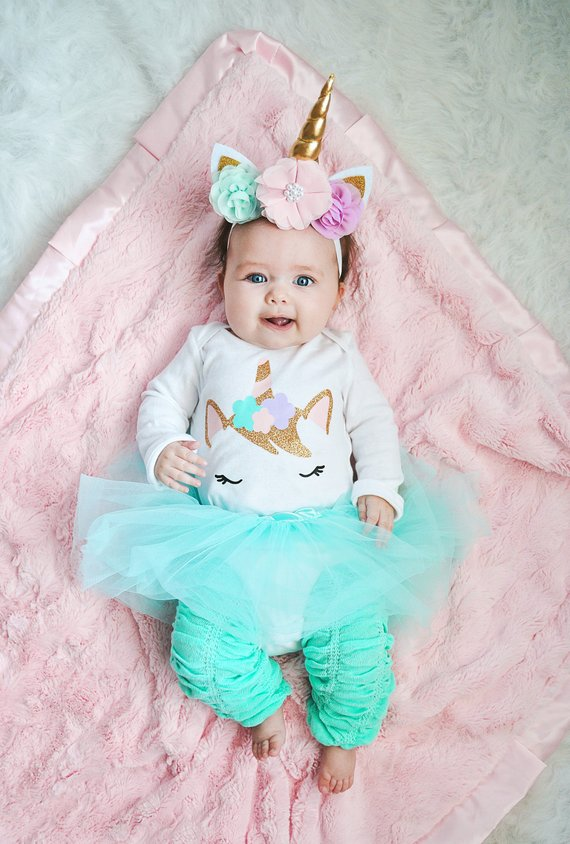 24c4b8b23210 Pastel Unicorn Baby Outfit Baby Girl Unicorn 1st Birthday Girls Unicorn Tutu  Costumes Newborn Bodysu