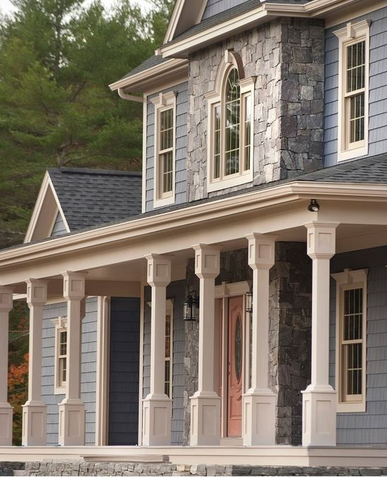 Corinthian Granite Square And Rectangle Veneer On The House Caledonia Steps Leading To The Front Porch Granite Natural Stone Veneer Steps