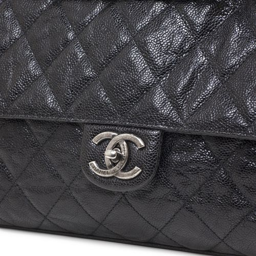 b85869656528 Chanel Black Distressed Caviar CC Crave Flap - modaselle | Chanel ...