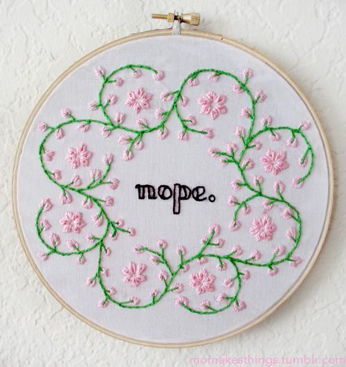 Embroidery stitching nope kitsch artists on tumblr
