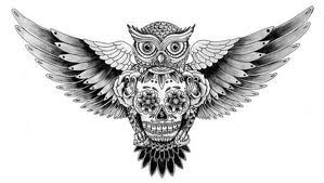 Black And White Owl Tattoo With Sugar Skull Hipster Tattoo Owl Thigh Tattoos Sugar Skull Tattoos