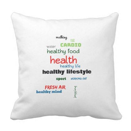 healthy lifestyle word cloud throw pillow home gifts ideas decor rh pinterest com
