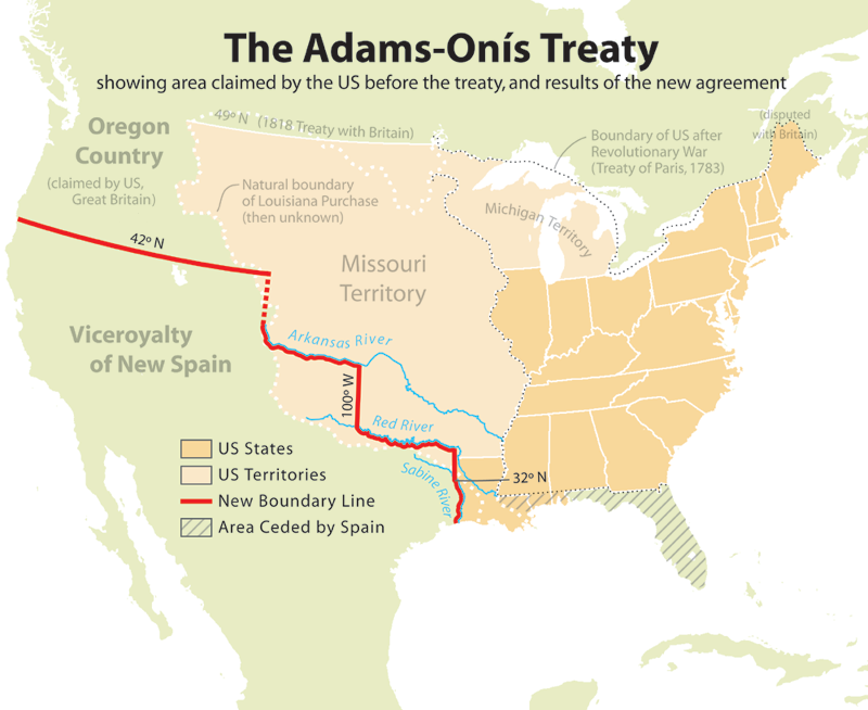 Adams onis map AdamsOnís Treaty Wikipedia, the free