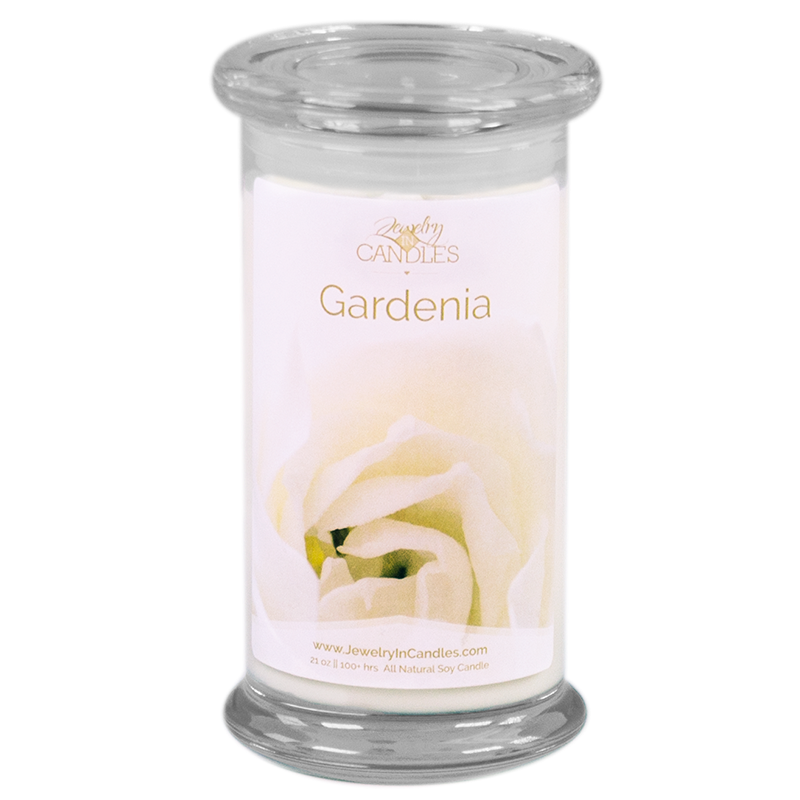 Jewelry in candle gardenia candle  100% soy wax scented with