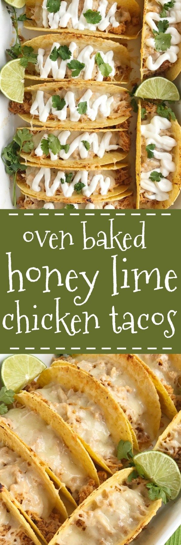 Switch up taco night with these oven baked honey lime chicken tacos. Shredded chicken seasoned with a honey lime mixture and baked in corn taco shells. Load up on the cheese for a crispy taco with gooey cheese and serve with your favorite taco toppings. Dinner can be on the table in 30 minutes with this one and it's always a favorite. #honeylimechicken