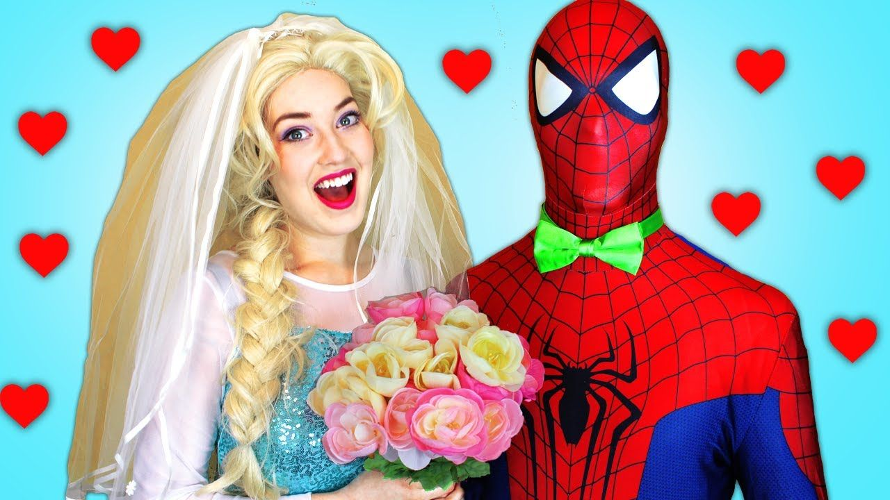 Spiderman Elsa Anna Vs Joker Wedding And Kisses Superheroes In Real Life Spiderman And Frozen Spiderman Superhero Movies