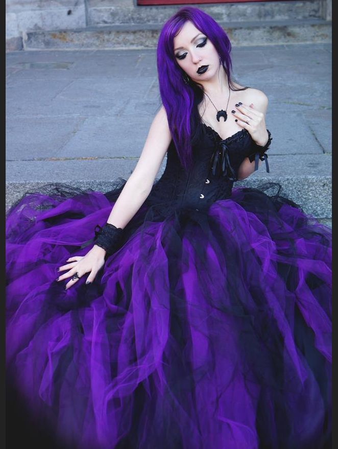 c3bd704357 Romantic Black and Purple Gothic Corset Long Prom Dress - Devilnight.co.uk