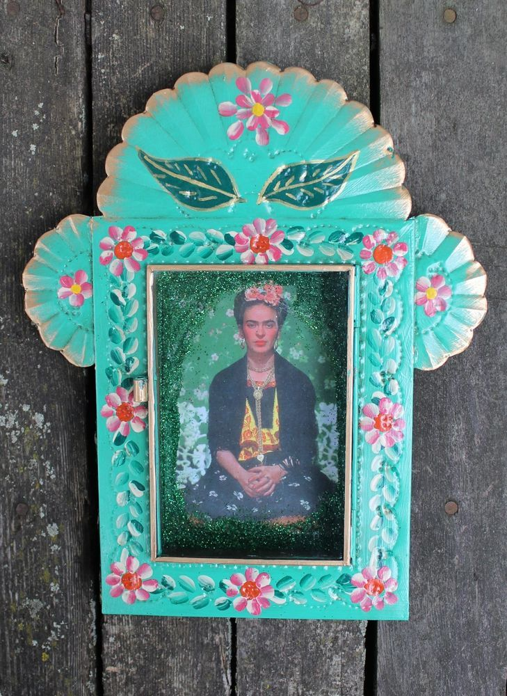 Hand Painted Relicario Green Floral Frida Kahlo Tin Niche
