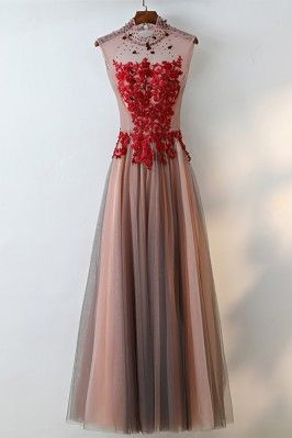 9a277a08f365f Different Black Tulle Long Prom Dress With Cap Sleeves Flowers - $139  #MQD17023 - SheProm.com