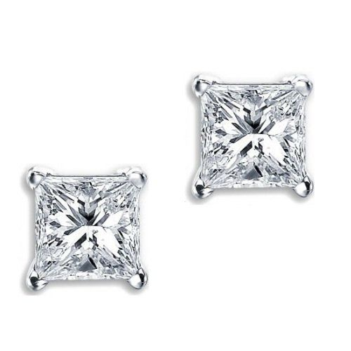 Princess Cut Square Diamond Cz Basket Set Silver Uni Stud Earrings 10mm 6ct Jewelry