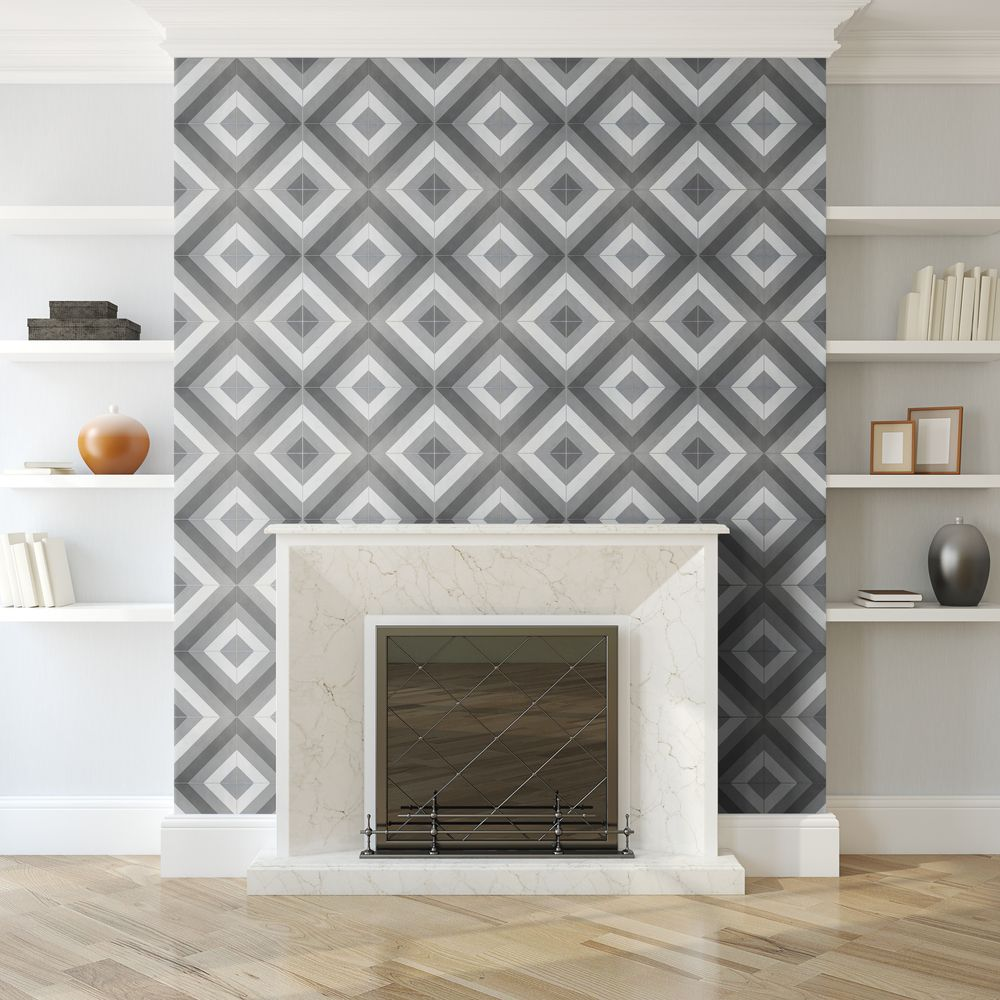 Arrow I - Use patterned concrete tile to create a stunning fireplace ...