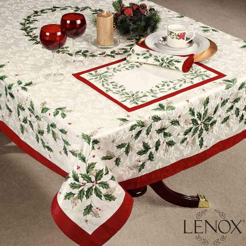 Keep Tradition Going With The Holiday Tablecloth By Lenox The Holly And Berry Motif Are Embel Christmas Table Cloth Holiday Table Linens Christmas Table Linen