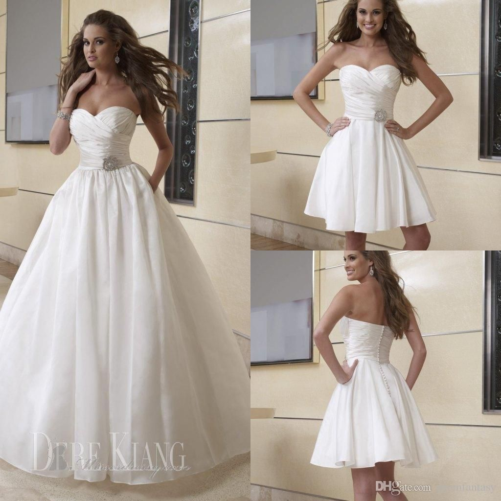 discount simple a line beach wedding dresses 2 in 1 detachable long
