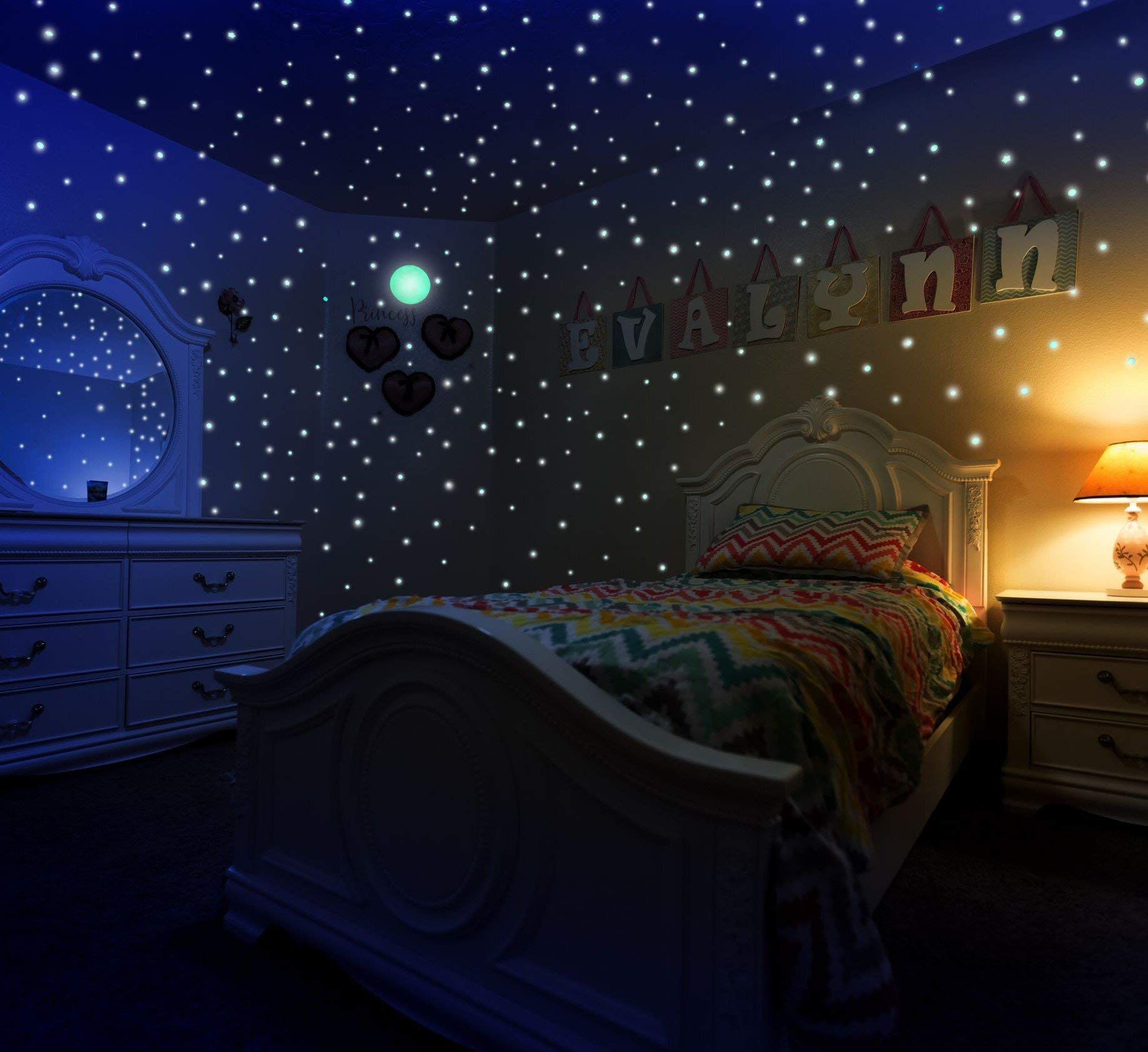 Glow In The Dark Stars And Moon Stickers For Kids Bedroom Walls And Ceiling Of Starry Night Sky 447 Adhesiv Kids Bedroom Walls Blush Bedroom Decor Bedroom Wall