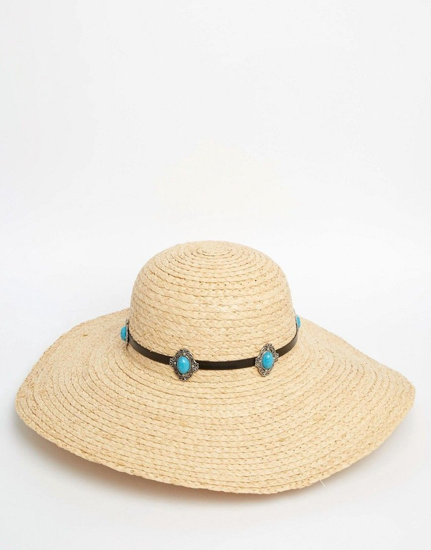 ASOS Oversized Natural Floppy Straw Hat With Turq Stone Band  91f9500ba5b8