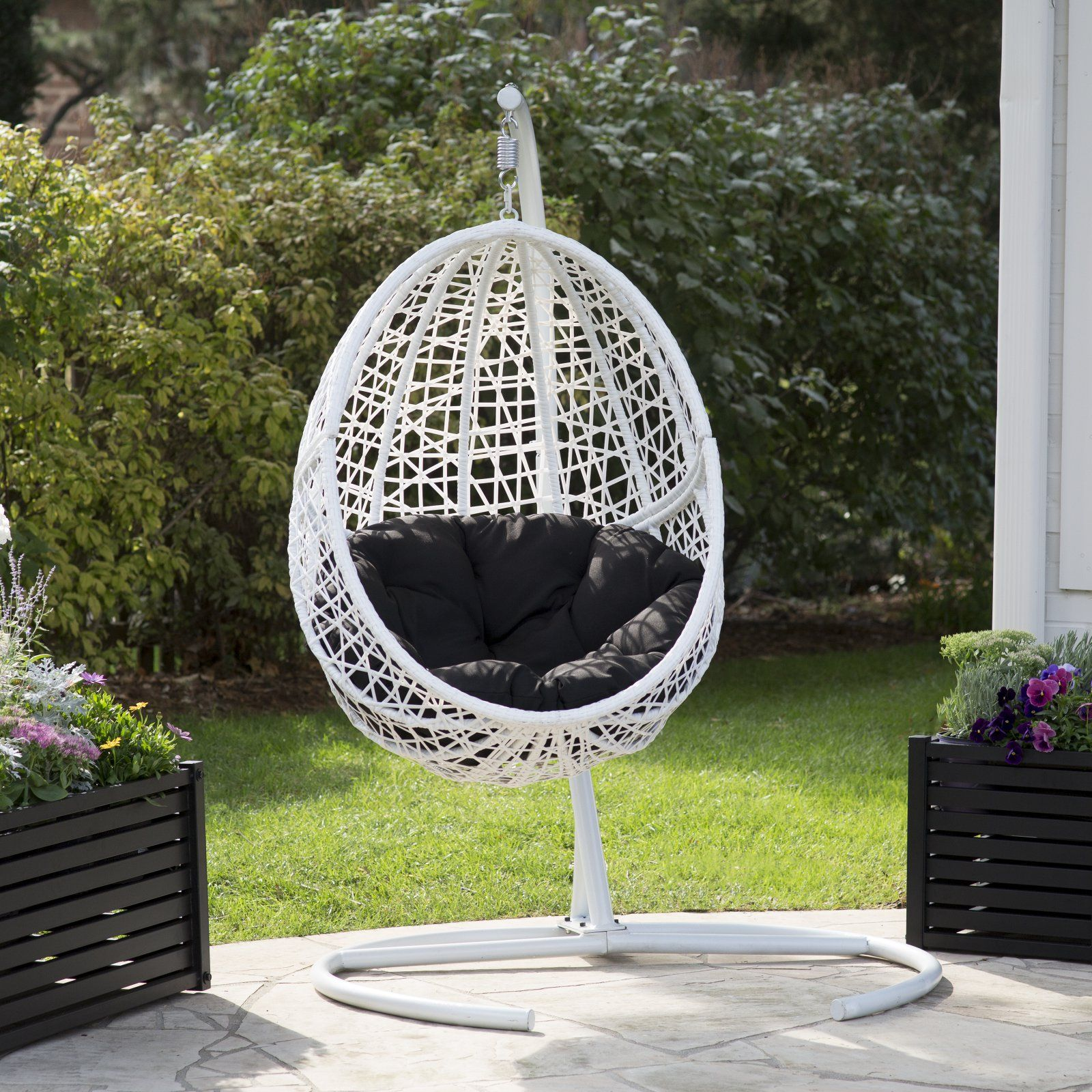 Sensational Outdoor Belham Living Resin Wicker Blanca Hanging Egg Chair Home Interior And Landscaping Ologienasavecom
