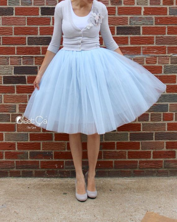 bb34b68e09 Clarisa - Baby Blue Tulle Skirt, Blue Gray Tutu, 6-layers Puffy Tutu,  Princess Tutu, Adult Tutu, Midi Tulle Skirt, Plus Size Tulle Skirt