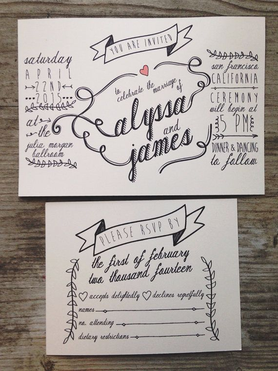 Rustic Hand Drawn Wedding Invitation Rsvp Card On Etsy