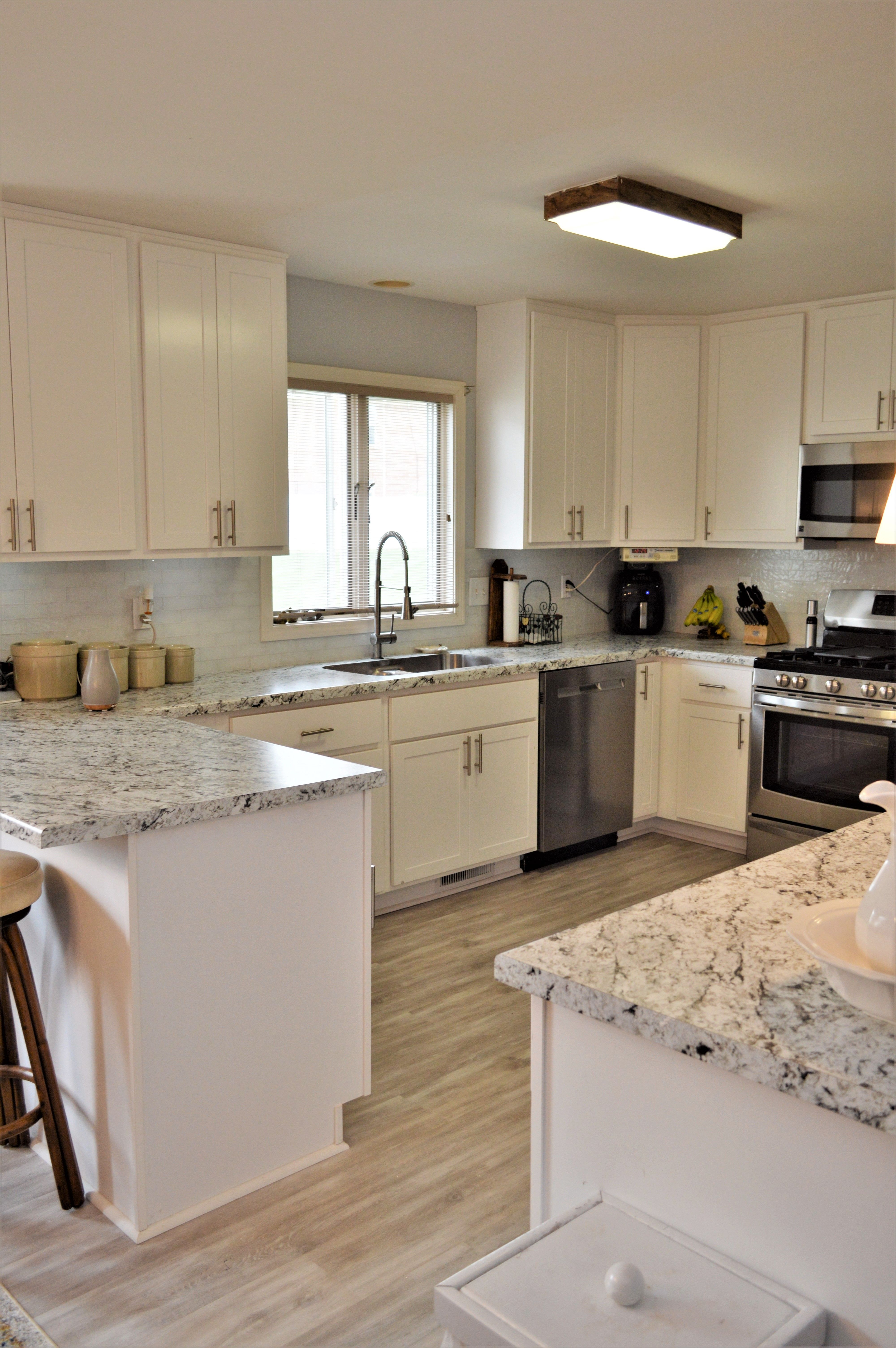 Laminate countertop, Modern edge detail, White Ice Granite