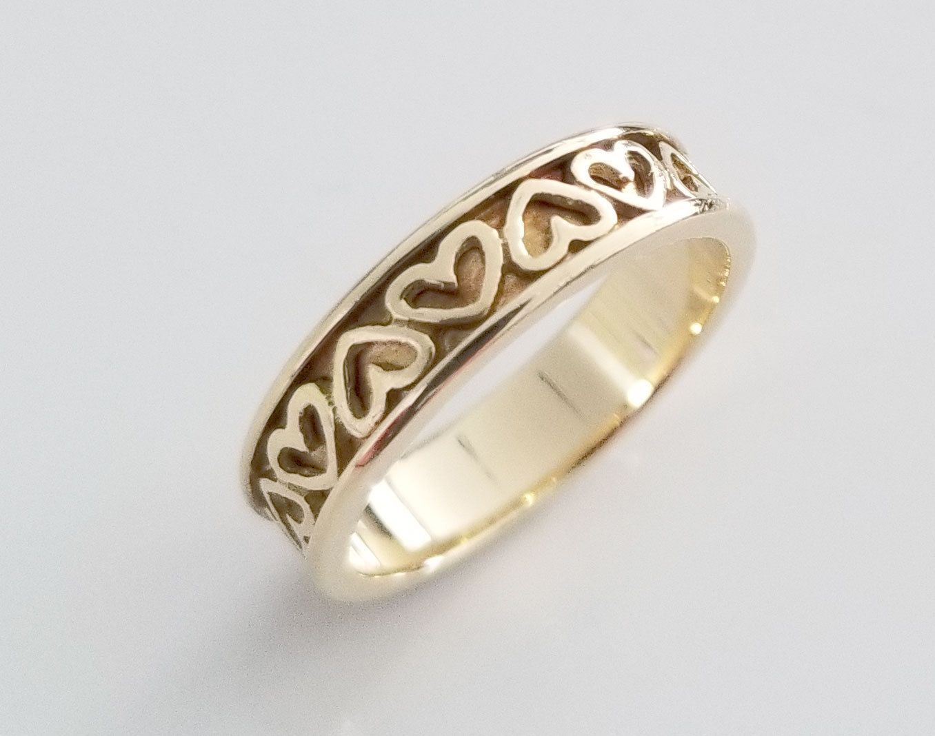 Genuine vintage tiffany k yellow gold eternity heart design ring