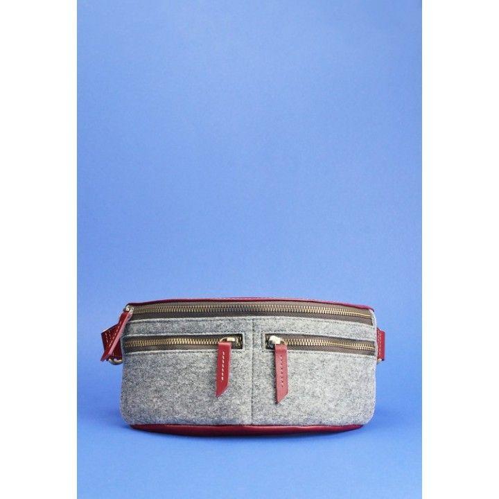 c690d95321b2 Стильные женские кожаные сумки. Сумка поясная Spirit фетр+кожа виноград  купить в Киеве и