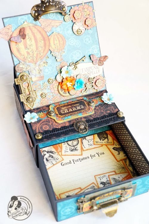 Another great look at Arlene's Steampunk Spells easel box card! Wow! #Graphic45 #diy