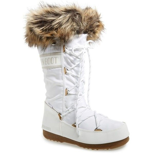 Tecnica Monaco Waterproof Insulated Moon Boot 1 Heel 180 Liked On Polyvore Featuring Shoes Boots Knee High Bo Moon Boots Boots White Knee High Boots