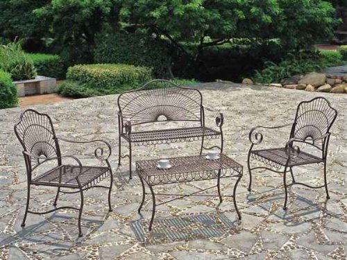 Iron Patio 4 Piece Sunray Settee Group This Beautiful Wrought