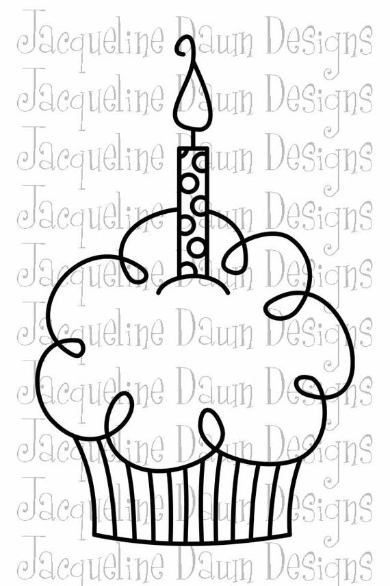Digital Stamp Happy Birthday Cupcake With Polka Dot Candle With