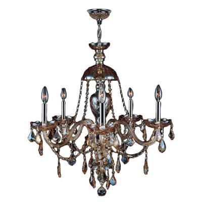 Worldwide Lighting Provence Collection 5 Light Amber Crystal and Chrome Chandelier-W83101C25-AM at The Home Depot  $438.75