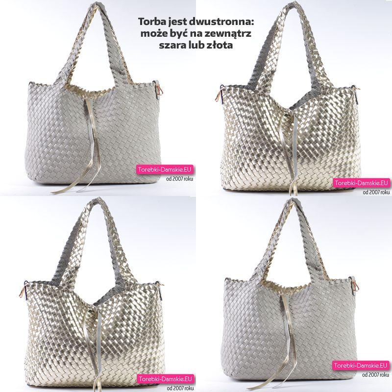 0bb9900a0d6b0 Duża pojemna dwustronna torba damska shopper - pleciona. Torebka 2 w 1 -  złota lub szara