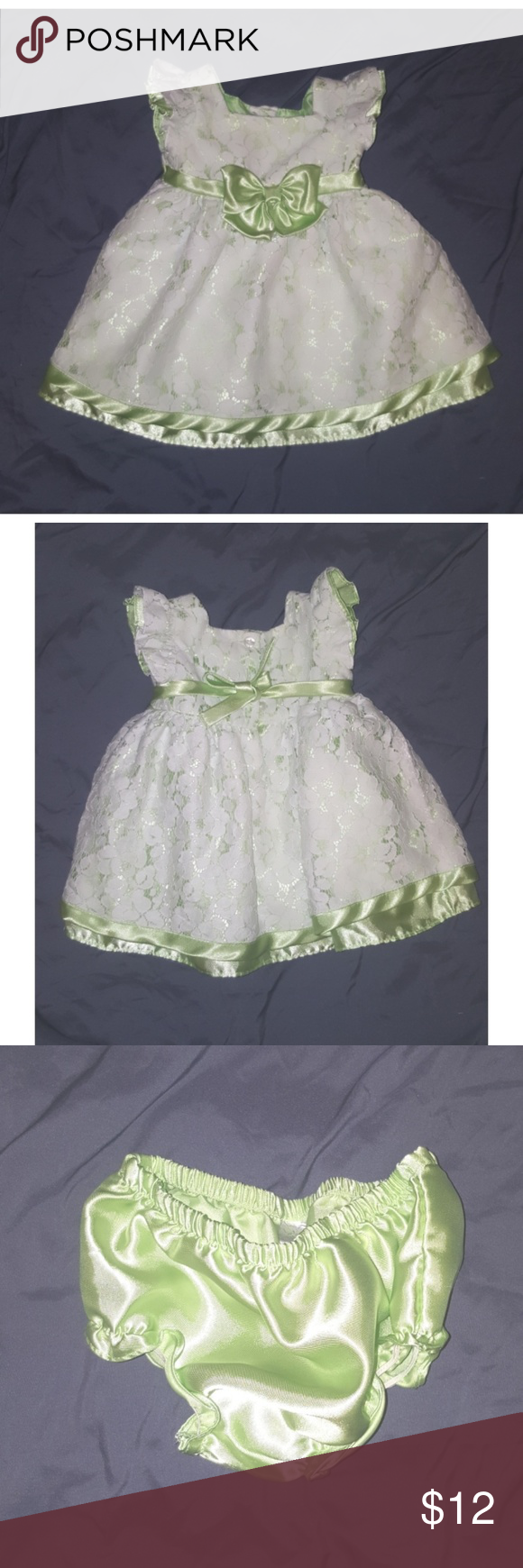 Green dress with lace overlay  Baby Girl Party Dress w Lace Overlay EUC Koala Baby Girl lime green