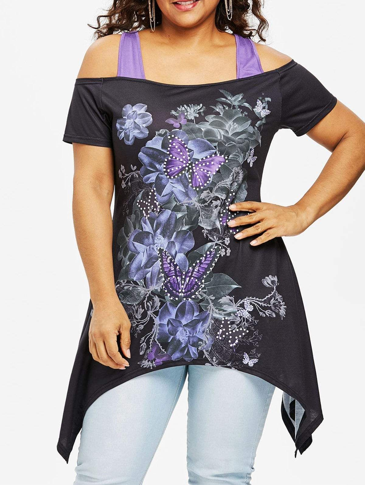9c62367375755 Plus Size 3D Floral Racerback Handkerchief T-shirt in 2019 ...