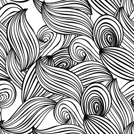 Abstract Flowers Black Sew Easy Black and White Serie 110cm Wide Per 1//2 Metre