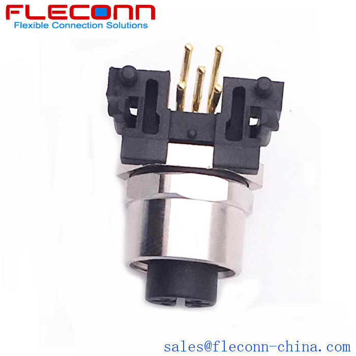 M12 A Coded 90 Degree Right Angle Pcb Mounting Connector Connector Coding Mounting