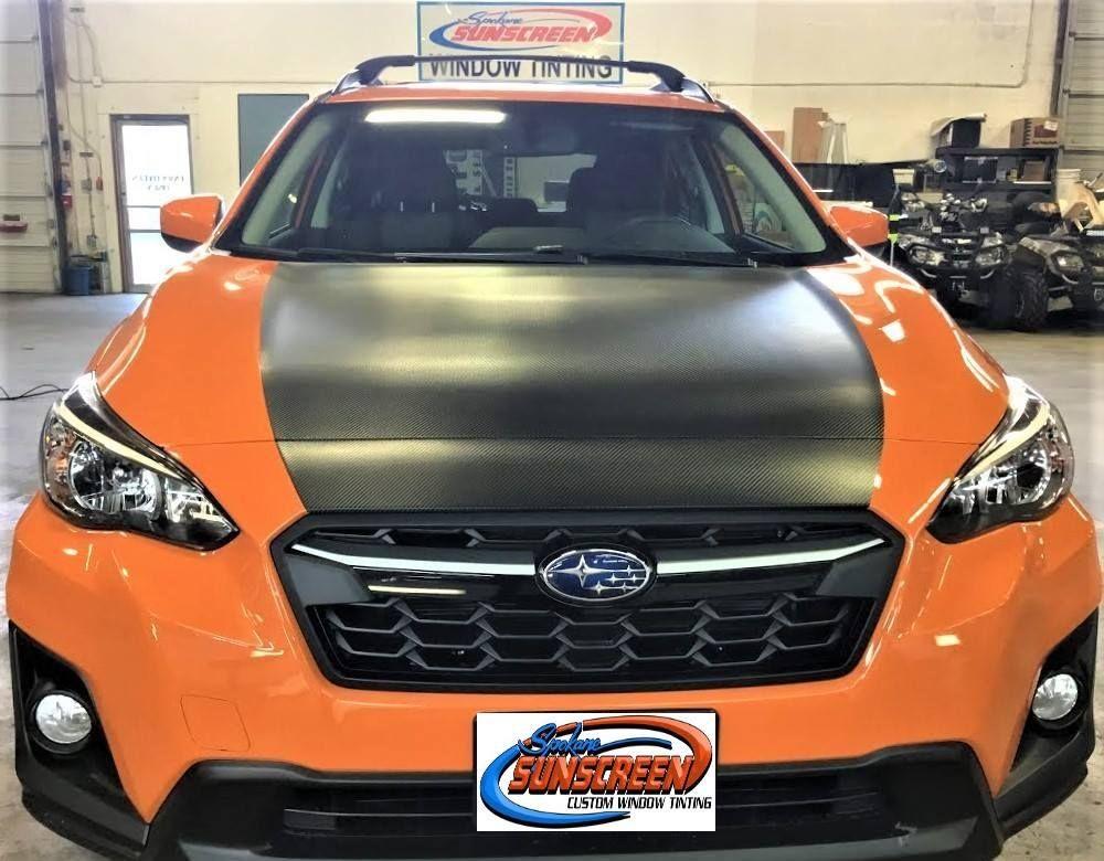 Carbon Fiber Vinyl Wrap Installation on Hood of a Subaru