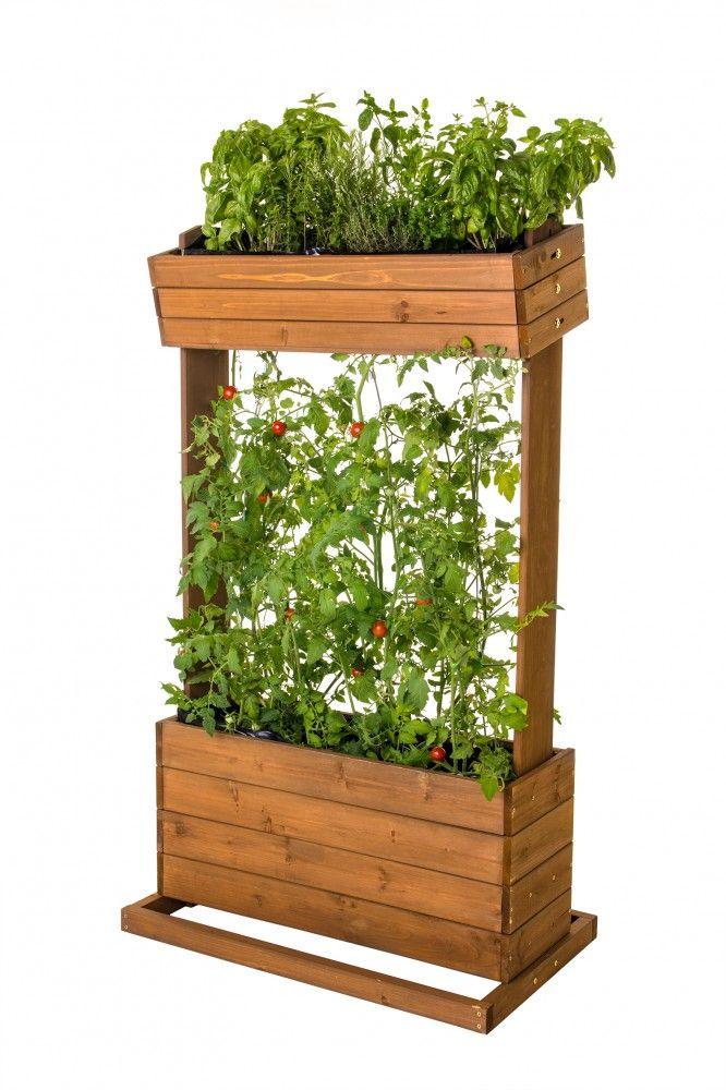 Vertikales Hochbeet Pflanztisch Krauterbeet Echtholz Mit Rankseilen Pflanzen Hochbeet Pflanztisch
