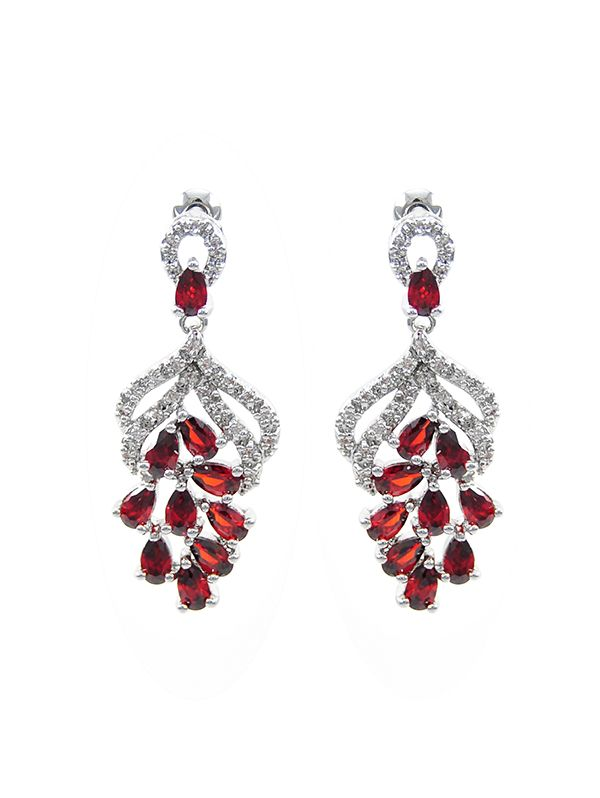 Wholesale Designer Inspired Bunch Of Grapes Dangling Earrings In Clear And Ruby Cz Cz Earrings Wholesale Earrings Earrings
