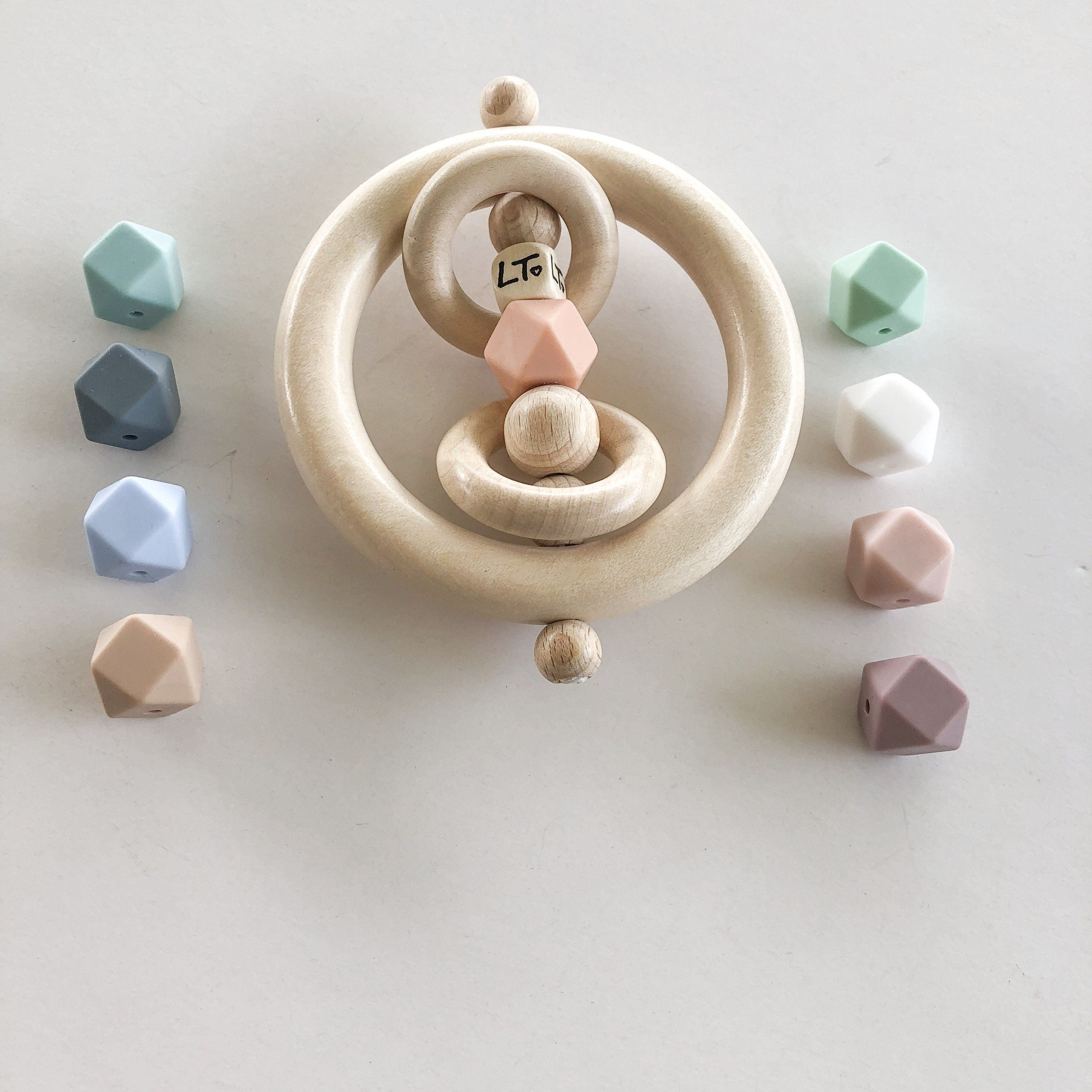 Mini Grasp Ring Raw Hex Rattle Organic Baby Products Wooden