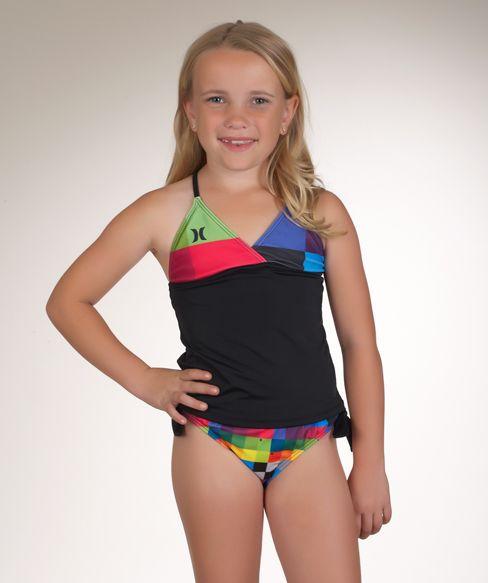 c20e8c3a05c6f @Hurley Girls Kings Road Tankini Top and Retro Tie Bottoms $31.20  www.swimspot.com #swimwear #swimspot #kids